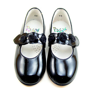 A-1165 - Black Patent Rhinestone Shoes - Euro 22 Size 6