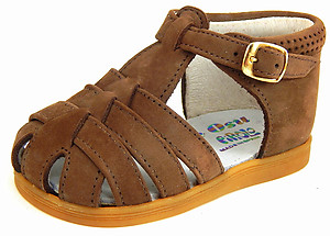 DE OSU A-7015 - Brown Nubuck Leather Sandals