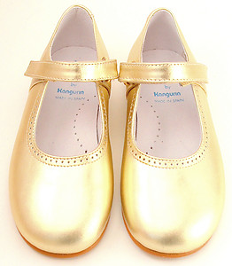 De Osu/Faro B-7704 - Gold Dress Mary Janes