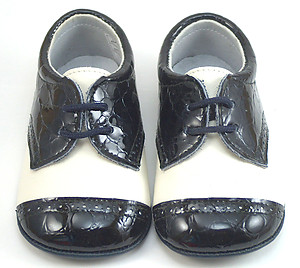 DO-136 - Ivory-Navy Crib Shoes - EUR 17 Size 2