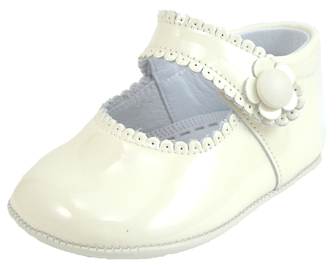 DE OSU Spain - Baby Girls Ivory Patent Leather Dress Crib Shoes DO-153 - Euro At De Osu Shoes