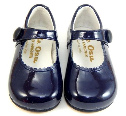 Navy Blue Patent Leather Baby Shoes