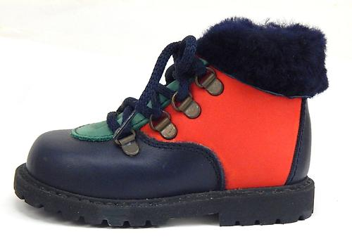 B-78 - Navy & Multi Fur Boots - Euro 20 Size 4