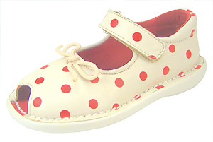 FARO 5F6610 - Ivory-Red Polka Dot Mary Janes - Euro 24 US 7