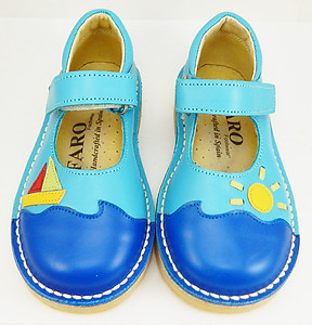 FARO 5S4012 - Turquoise Sailboat Mary Janes - Euro 24 Size 7