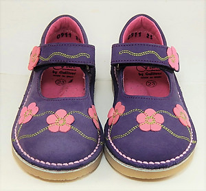 FARO 5T0911 - Girls' Purple Nubuck Leather and Fuschia Mary Janes