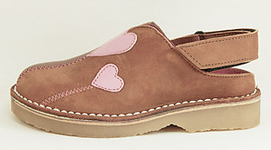 FARO 5T1412 - Brown & Pink Heart Clogs - Euro 24 Size 7