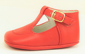 T-606 - Red T-Strap Crib Shoes