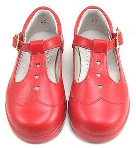 DE OSU 8547 D - Red Leather T-Straps