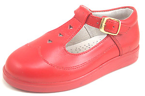 8547 D - Red Leather T-Straps
