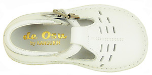 A-1154 - White Leather T-Strap