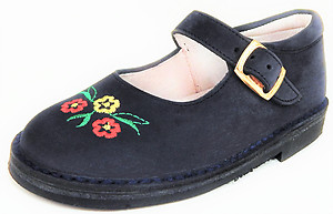 A-1229 - Navy Flower Mary Janes