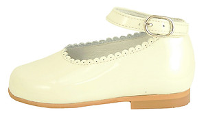 A-302 K - Ivory Patent Ankle Straps
