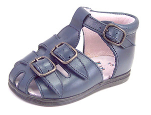 A-7049 - Navy Buckle Sandals - Euro 18 Size 3