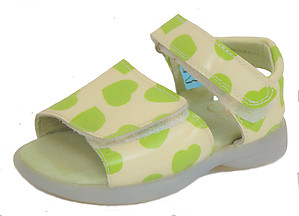 FARO B-063 - Lime Hearts Sandals - Euro 19 Size 4