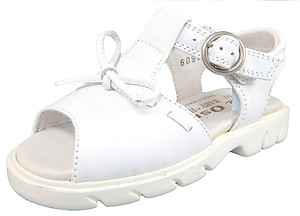 B-6095 - White Leather Fisherman Sandals