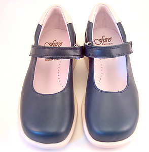 DE OSU/FARO B-6225 - Navy Cream Mary Janes