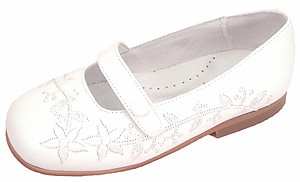 B-6483 F - White Embroidered Dress Shoes - EU 26 Sz 9