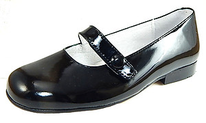 B-6483 - Black Patent Button Flats