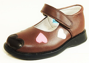 B-7020 - Brown Hearts Mary Jane - Euro 25 Size 8