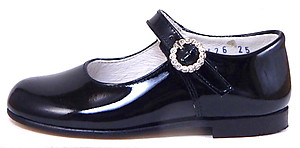 B-7426 - Black Patent Rhinestone Shoes