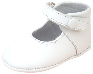 DO-111 - White Button Crib Shoes
