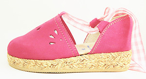 FARO F-3319 - Fuschia Pink Suede Leather Espadrilles