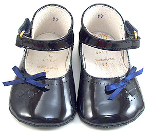 FARO PR-212 - Navy Patent Crib Shoes - EU 17 Sz 1