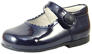 K-5327 - Navy Patent Button Shoes