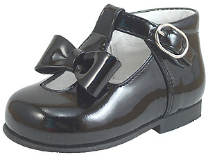 K-5625 - Black Patent Bow Shoes