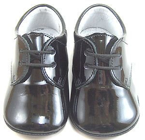 PR-240 - Black Patent Pram Shoes