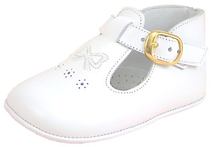 FARO PR-293 - White Bow Dress Crib Shoes