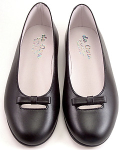 S-1394 - Black Leather Ballet Flats