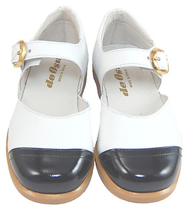 S-5001 O - White with Black Patent Mary Janes