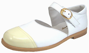 S-5001 O - White Mary Janes with Ivory Cap Toe