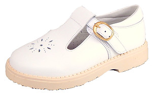 S-7365 - White T-Strap Shoes
