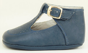 T-606 - Navy T-Strap Crib Shoes