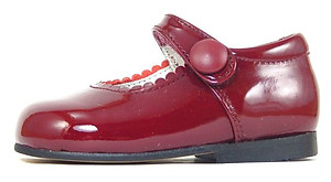 K-5327 - Burgundy Patent Button Shoes