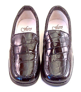 FARO B-6024 - Black Faux Croc Patent Loafers