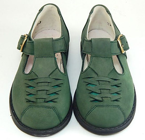 A-1016 - Girls Forest Green T-Straps - Euro 33 Size 3
