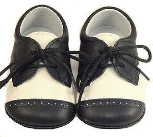 DO-136 - Ivory-Black Dress Crib Shoes