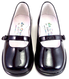 DE OSU B-6483 E- Black Patent Button Flats