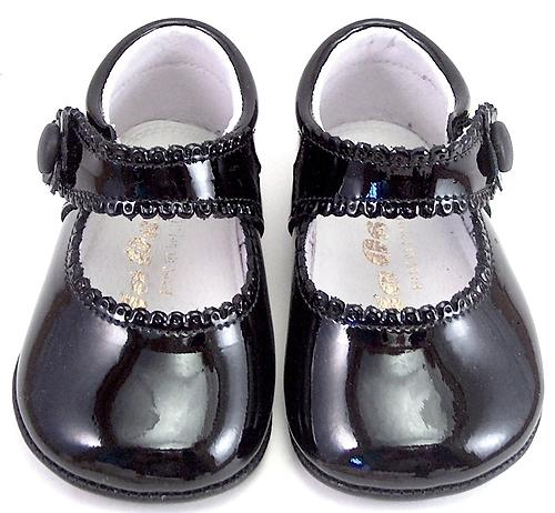 DO-153 - Black Patent Crib Shoes