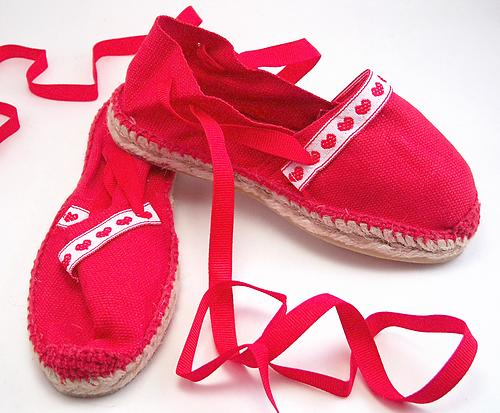 E-11 - Red Espadrilles with Heart Laces