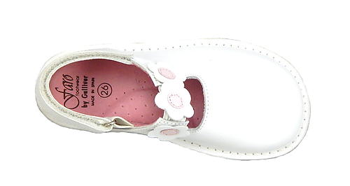 FARO 5N1112 - White & Pink Flower Clogs