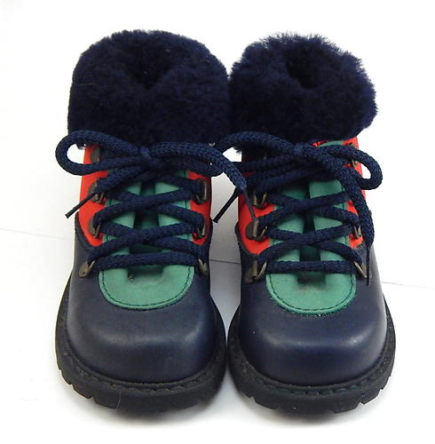 B-78 - Navy & Multi Shearling Boots - Euro 20 Size 4