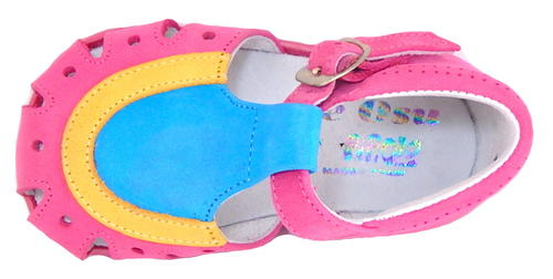 A-7063 - Fuschia & Turquoise Sandals