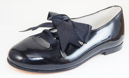 A-1123 - Black Patent Ghillie Shoes