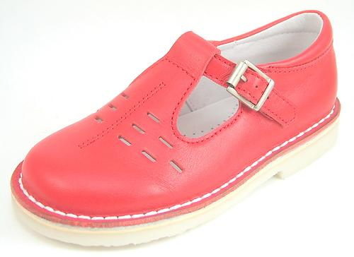 A-1154 - Red Leather T-Straps