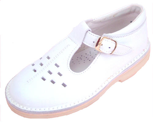 A-1154 P - White Leather T-Straps